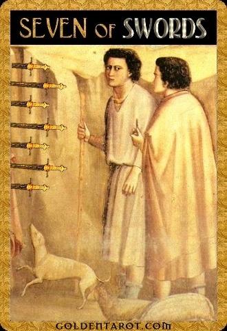 Lá Seven of Swords - Golden Tarot