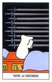 Hình Ảnh Lá Nine of Swords - Gummy Bear Tarot Kênh Kiến Thức Và Tri Thức