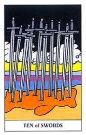 Lá Ten of Swords – Gummy Bear Tarot