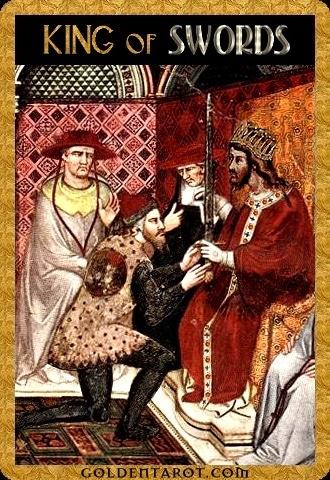 Lá King of Swords - Golden Tarot