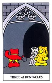 Lá Three of Pentacles trong bộ Gummy Bear Tarot