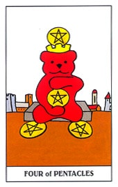 Lá Four of Pentacles – Gummy Bear Tarot