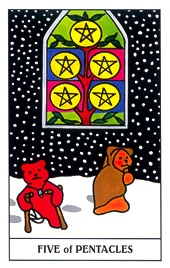 Lá Five of Pentacles trong bộ Gummy Bear Tarot