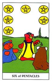 Lá Six of Pentacles trong bộ Gummy Bear Tarot