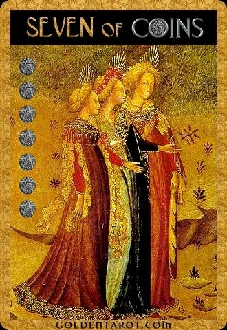 Lá Seven of Coins - Golden Tarot