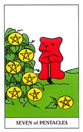 Hình Ảnh Lá Seven of Pentacles - Gummy Bear Tarot Kênh Kiến Thức Và Tri Thức