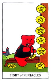 Lá Eight of Pentacles trong bộ Gummy Bear Tarot