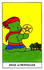 Lá Page of Pentacles trong bộ Gummy Bear Tarot