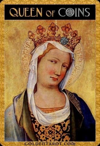 Lá Queen of Coins - Golden Tarot