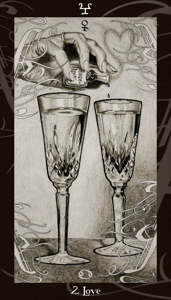 Lá Two of Cups trong bộ Harry Potter Tarot