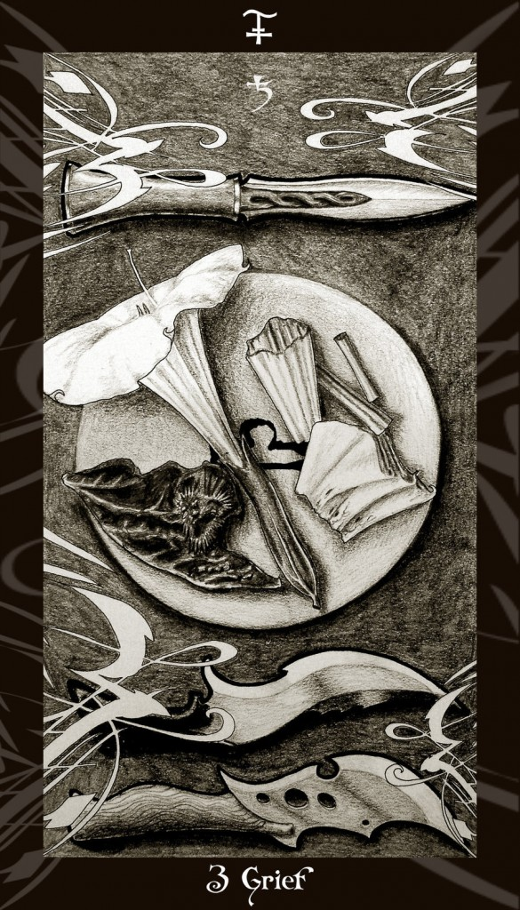 Lá Three of Swords trong bộ Harry Potter Tarot