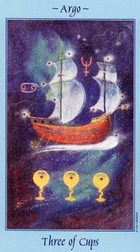 Lá Three of Cups - Celestial Tarot