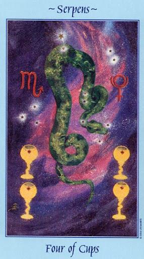 Lá Four of Cups - Celestial Tarot