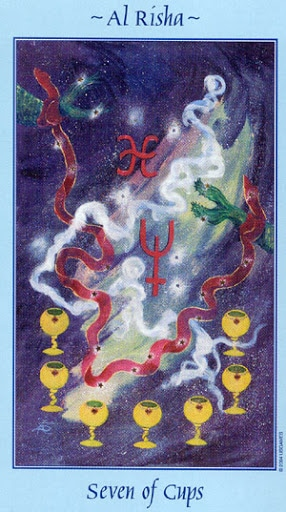 Lá Seven of Cups - Celestial Tarot