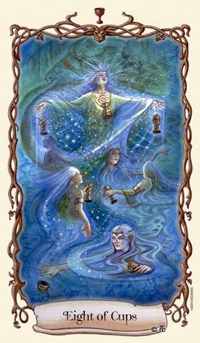 Lá Eight of Cups - Fantastical Creatures Tarot