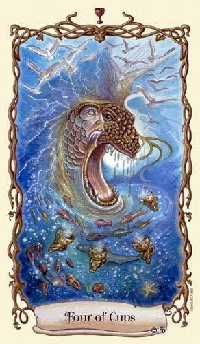 Lá Four of Cups - Fantastical Creatures Tarot
