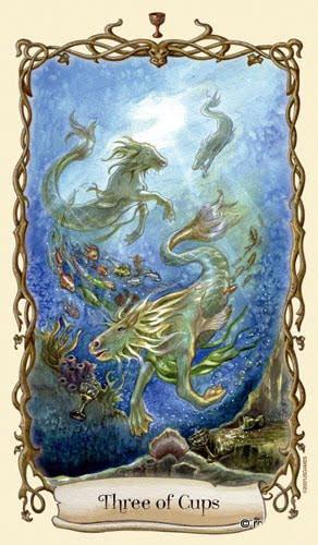 Lá Three of Cups - Fantastical Creatures Tarot