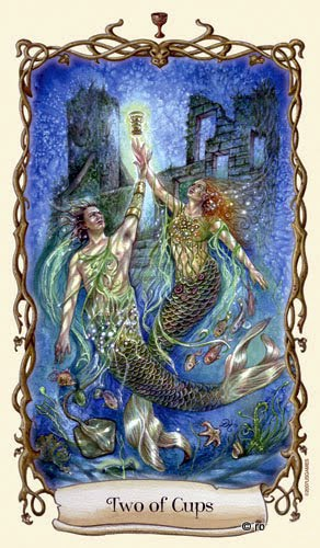 Lá Two of Cups - Fantastical Creatures Tarot