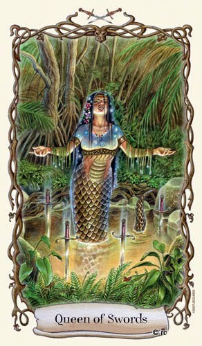 Lá Queen of Swords - Fantastical Creatures Tarot