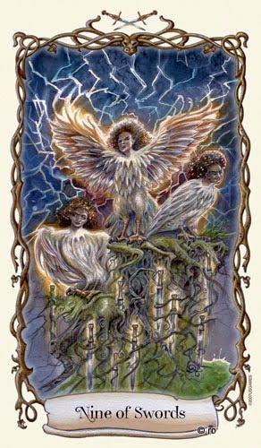 Lá Nine of Swords - Fantastical Creatures Tarot