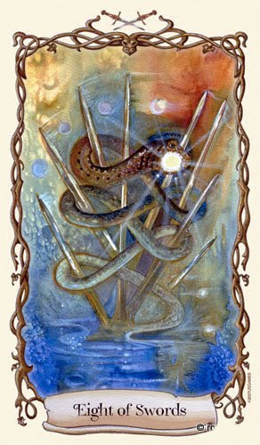 Lá Eight of Swords - Fantastical Creatures Tarot