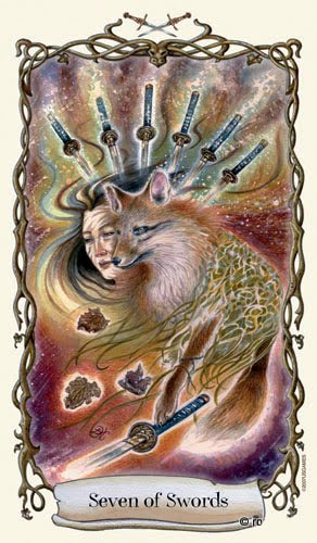Lá Seven of Swords - Fantastical Creatures Tarot