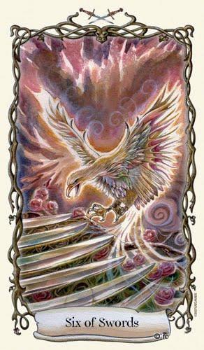 Lá Six of Swords - Fantastical Creatures Tarot