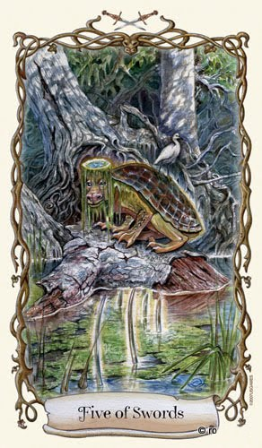 Lá Five of Swords - Fantastical Creatures Tarot