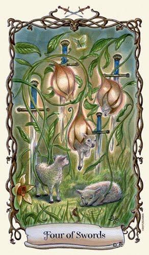 Lá Four of Swords - Fantastical Creatures Tarot