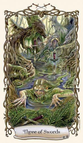 Lá Three of Swords - Fantastical Creatures Tarot