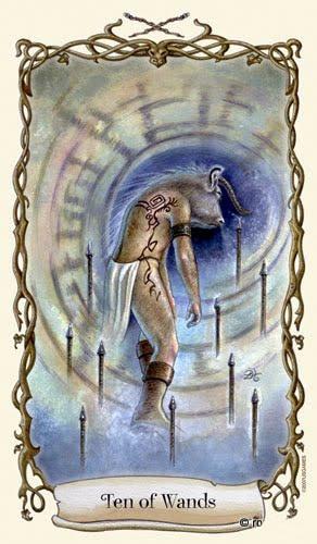 Lá Ten of Wands - Fantastical Creatures Tarot