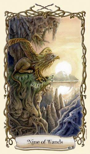 Lá Nine of Wands - Fantastical Creatures Tarot