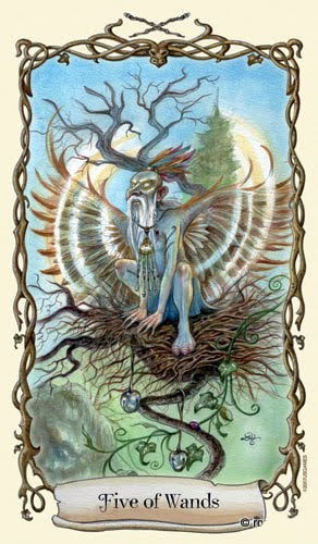 Lá Five of Wands - Fantastical Creatures Tarot