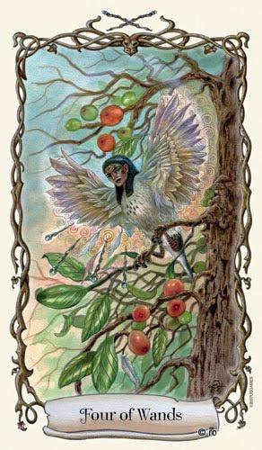 Lá Four of Wands - Fantastical Creatures Tarot