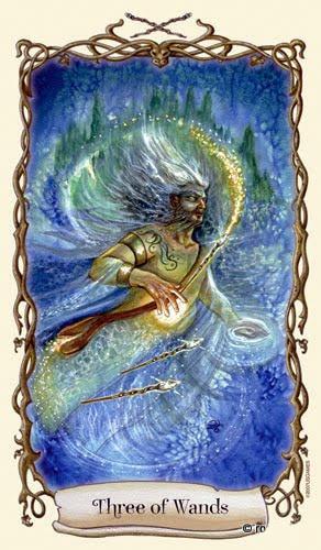 Lá Three of Wands - Fantastical Creatures Tarot