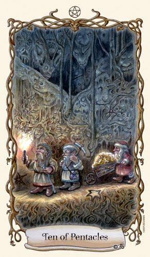 Lá Ten of Pentacles - Fantastical Creatures Tarot