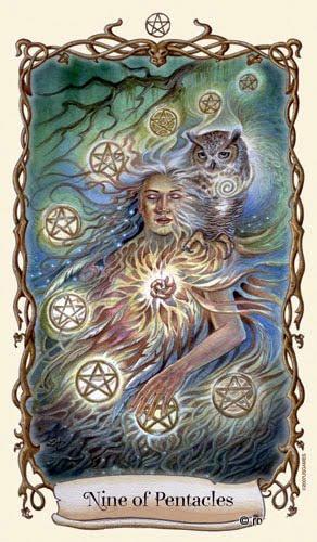 Lá Nine of Pentacles - Fantastical Creatures Tarot