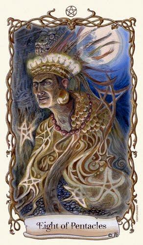 Lá Eight of Pentacles - Fantastical Creatures Tarot