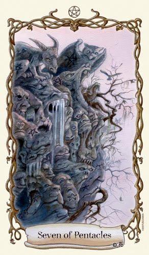 Lá Seven of Pentacles - Fantastical Creatures Tarot