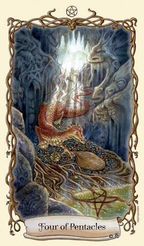 Lá Four of Pentacles - Fantastical Creatures Tarot