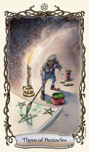 Lá Three of Pentacles - Fantastical Creatures Tarot