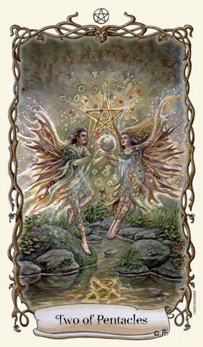 Lá Two of Pentacles - Fantastical Creatures Tarot