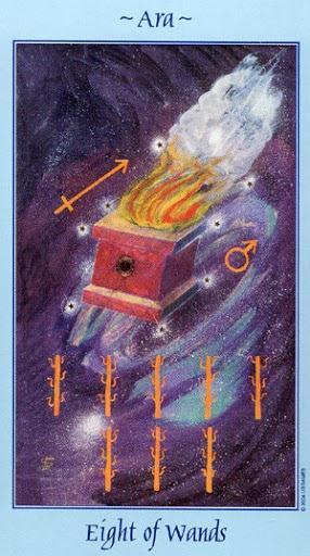 Lá Eight of Wands - Celestial Tarot