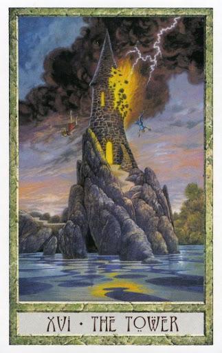 Lá XVI. The Tower - Druidcraft Tarot