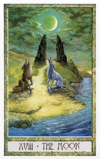 Lá XVIII. The Moon - Druidcraft Tarot