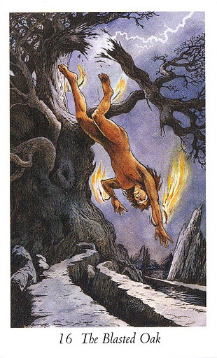 Lá 16. The Blasted Oak trong bộ bài Wildwood Tarot