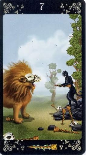 Ý nghĩa lá Seven of Wands trong bộ Black Cats Tarot