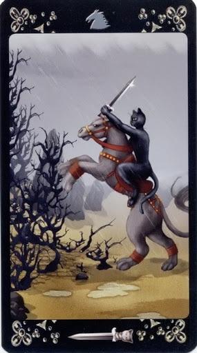 Lá Knight of Swords – Black Cats Tarot