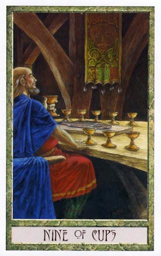 Ý nghĩa lá Nine of Cups trong bộ Druidcraft Tarot