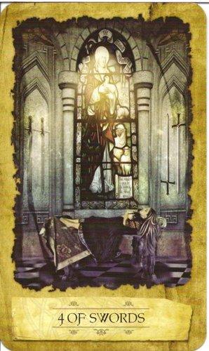 Ý nghĩa lá 4 of Swords trong bộ Mystic Dreamer Tarot